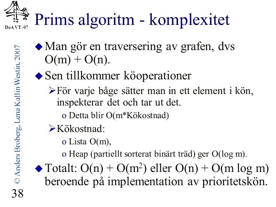 Prims algoritm - komplexitet