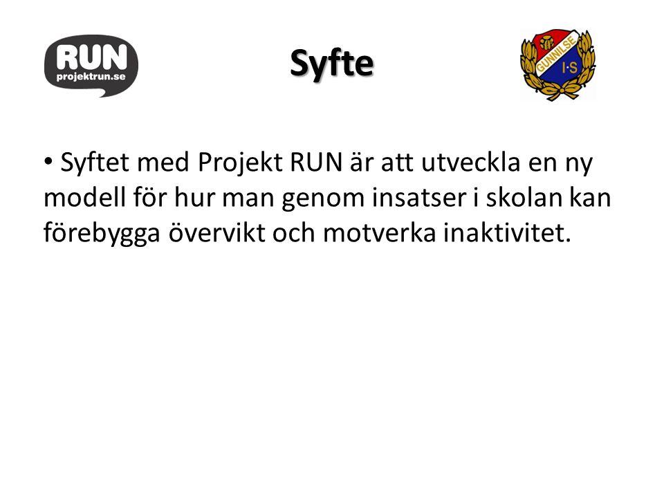 Syfte Syftet med Projekt RUN är att utveckla en ny modell för hur man genom insatser i skolan kan förebygga övervikt och motverka inaktivitet.