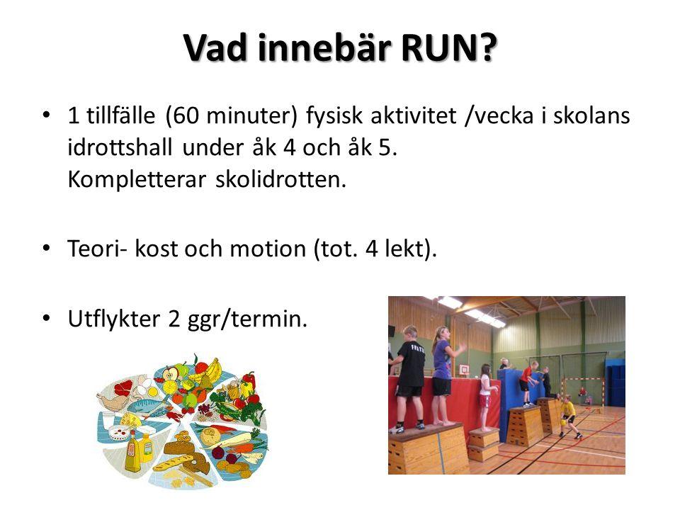 Vad innebär RUN 1 tillfälle (60 minuter) fysisk aktivitet /vecka i skolans idrottshall under åk 4 och åk 5. Kompletterar skolidrotten.