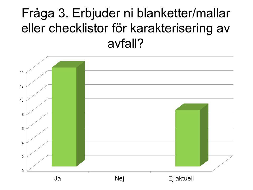 Fråga 3. Erbjuder ni blanketter/mallar eller checklistor för karakterisering av avfall