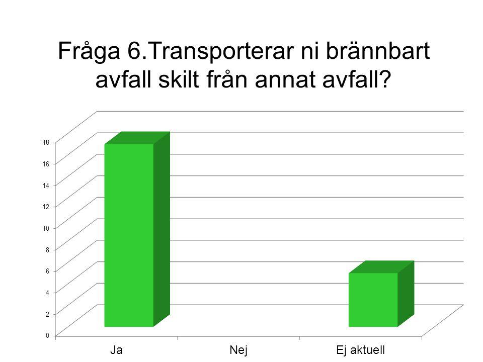 Fråga 6.Transporterar ni brännbart avfall skilt från annat avfall