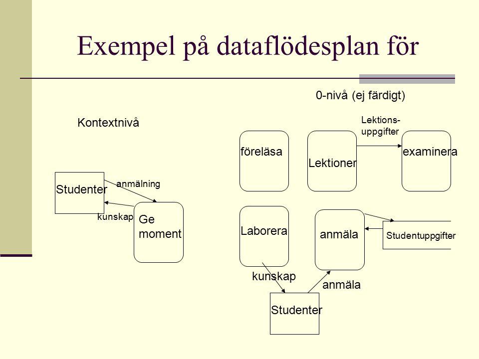 Exempel på dataflödesplan för
