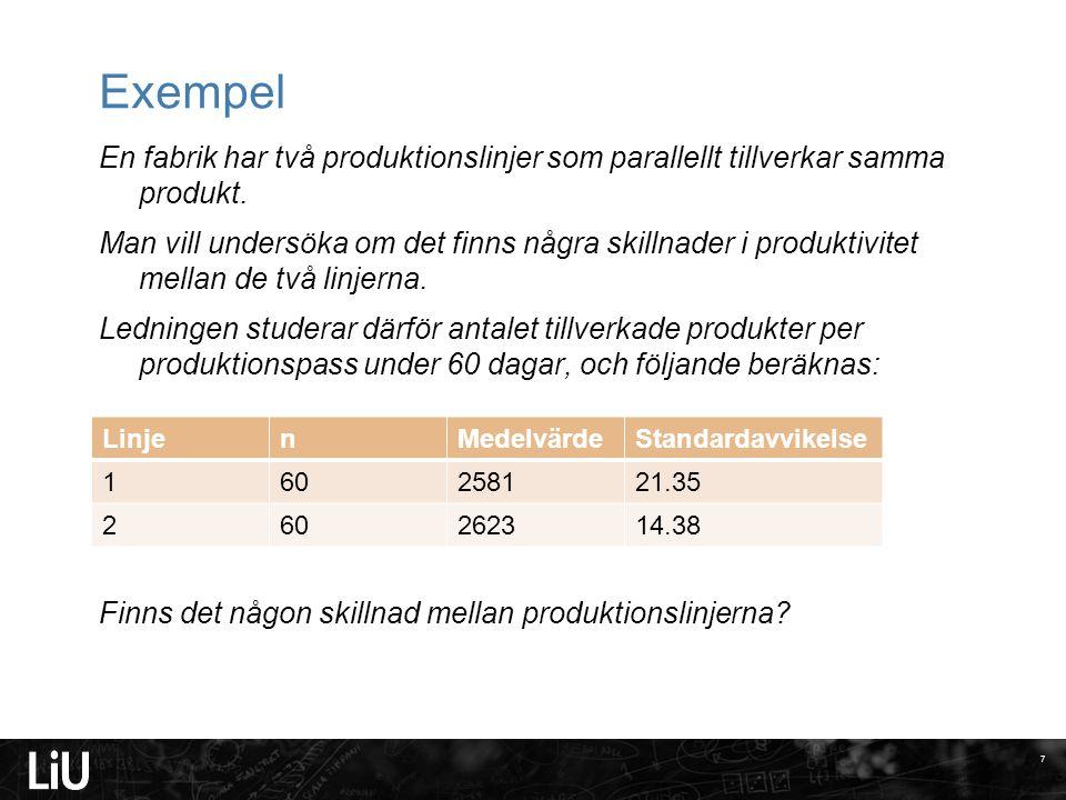 2017-04-13 Exempel. En fabrik har två produktionslinjer som parallellt tillverkar samma produkt.