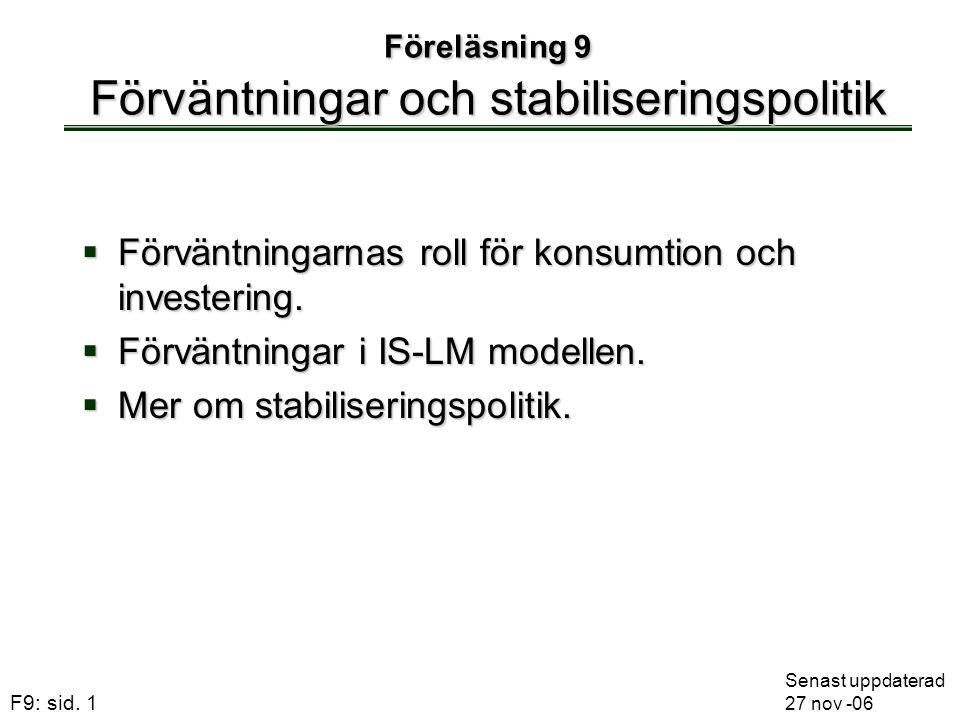 Föreläsning 9 Förväntningar och stabiliseringspolitik