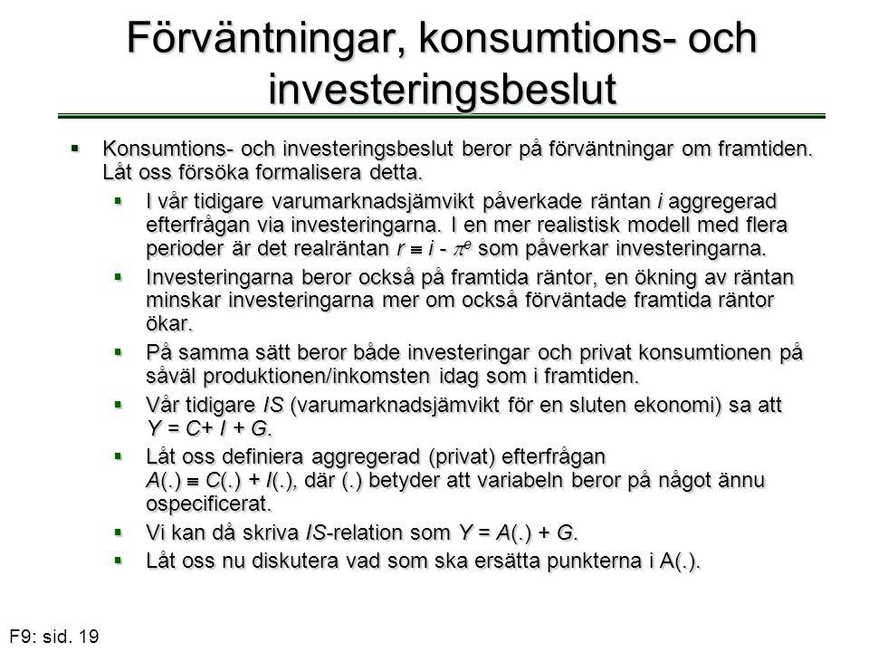 Förväntningar, konsumtions- och investeringsbeslut
