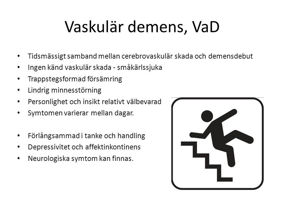 Vaskulär demens, VaD Tidsmässigt samband mellan cerebrovaskulär skada och demensdebut. Ingen känd vaskulär skada - småkärlssjuka.