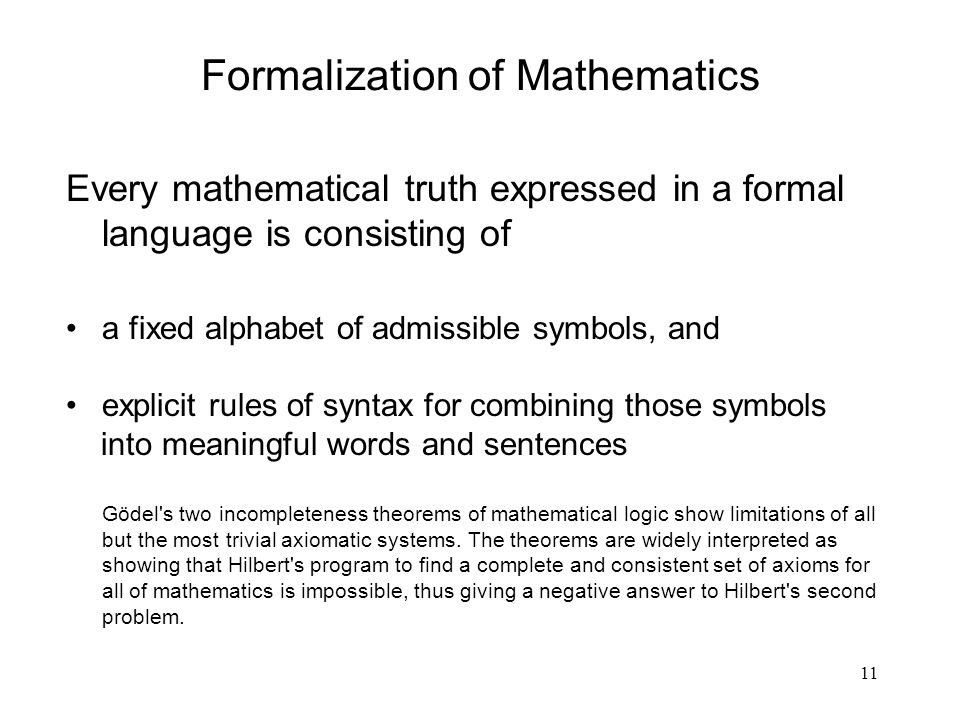 Formalization of Mathematics