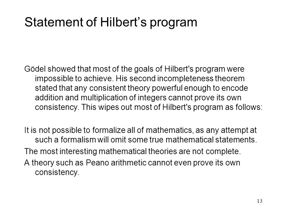 Statement of Hilbert's program