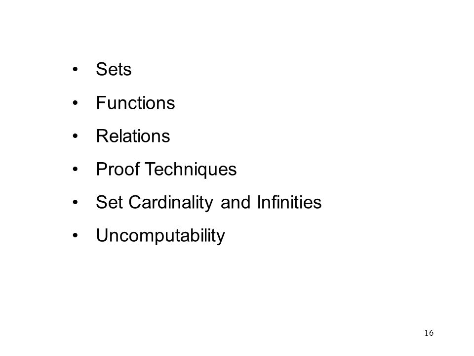 Sets Functions Relations Proof Techniques Set Cardinality and Infinities Uncomputability