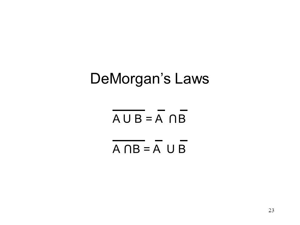 DeMorgan's Laws A U B = A B U A B = A U B