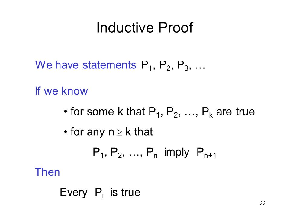 Inductive Proof We have statements P1, P2, P3, … If we know