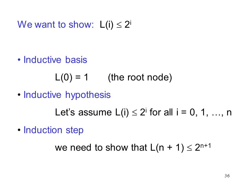 We want to show: L(i)  2i Inductive basis. L(0) = 1 (the root node) Inductive hypothesis.