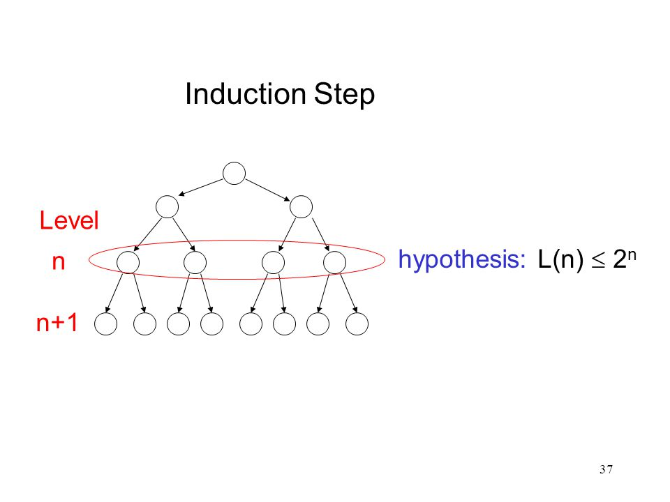 Induction Step hypothesis: L(n)  2n Level n n+1