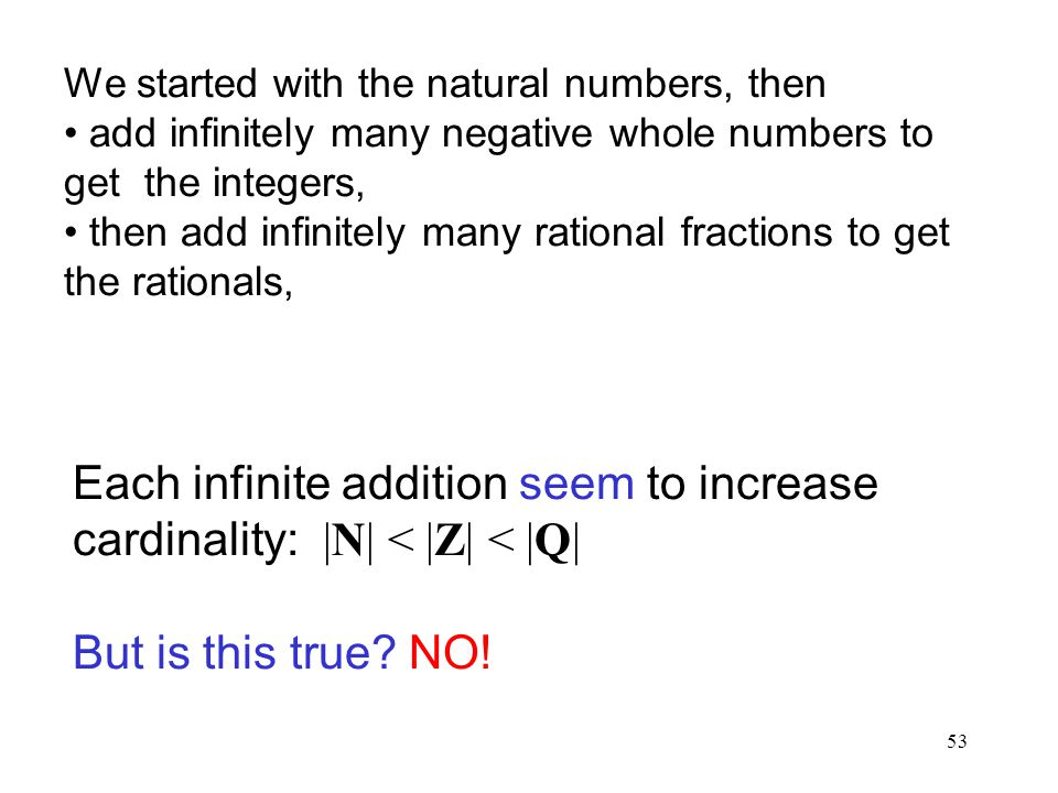 We started with the natural numbers, then