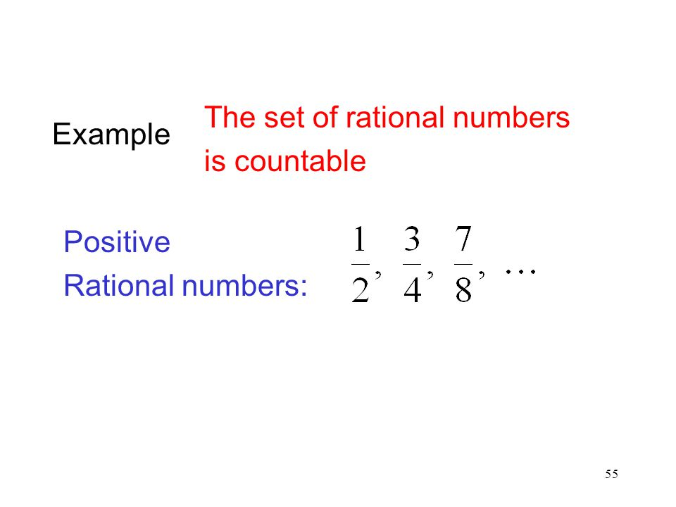 Example The set of rational numbers is countable Positive Rational numbers:
