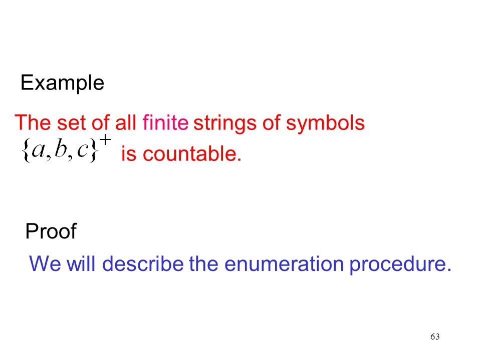 Example The set of all finite strings of symbols. is countable.
