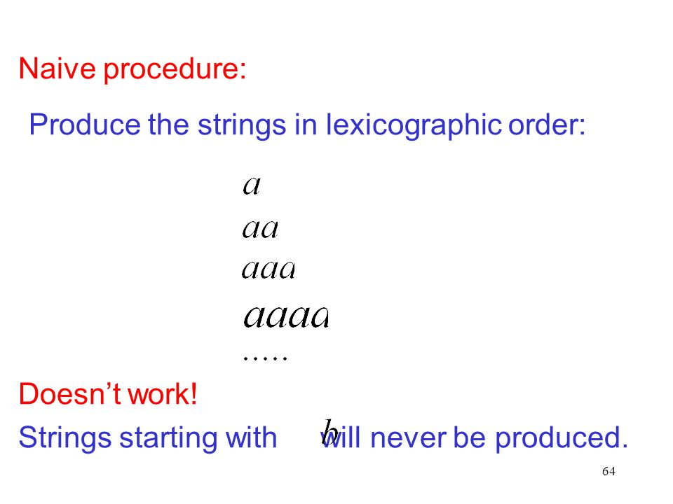 Naive procedure: Produce the strings in lexicographic order: Doesn't work.