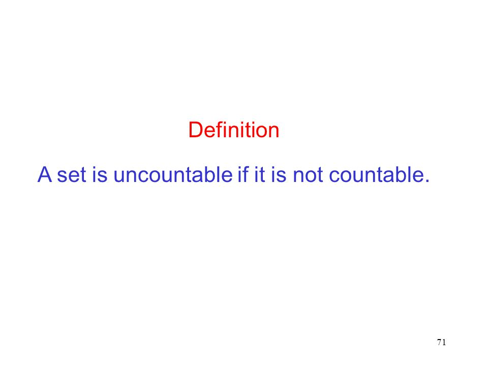 Definition A set is uncountable if it is not countable.