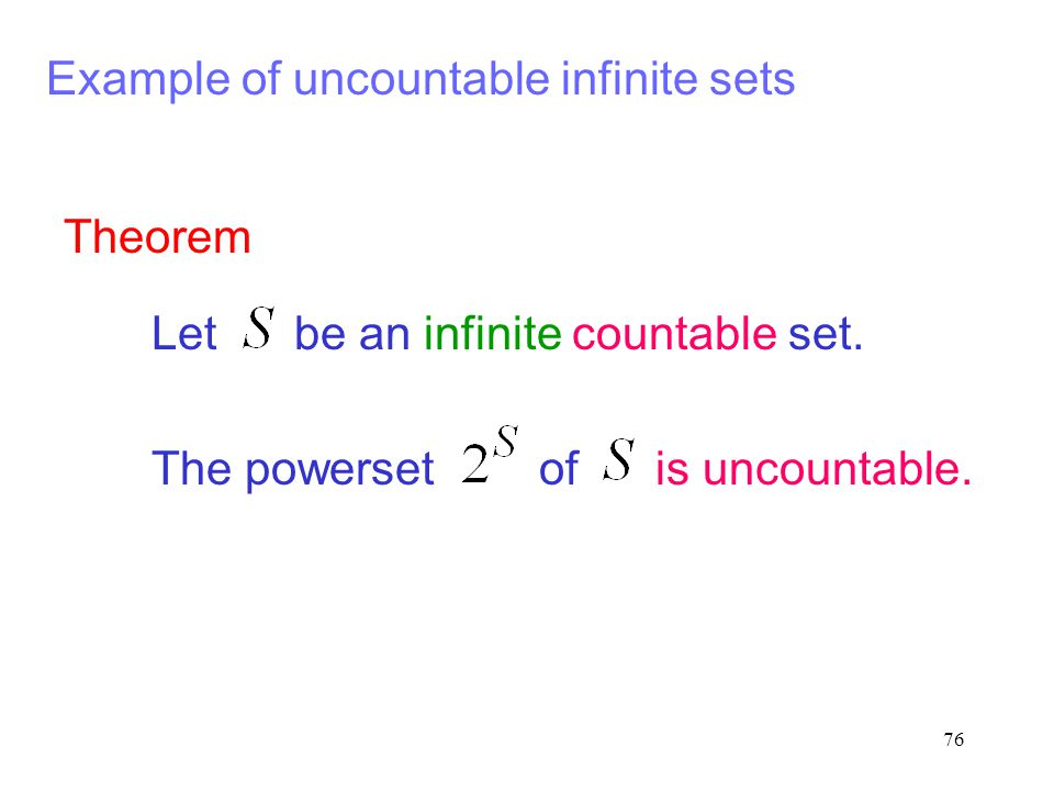 Example of uncountable infinite sets