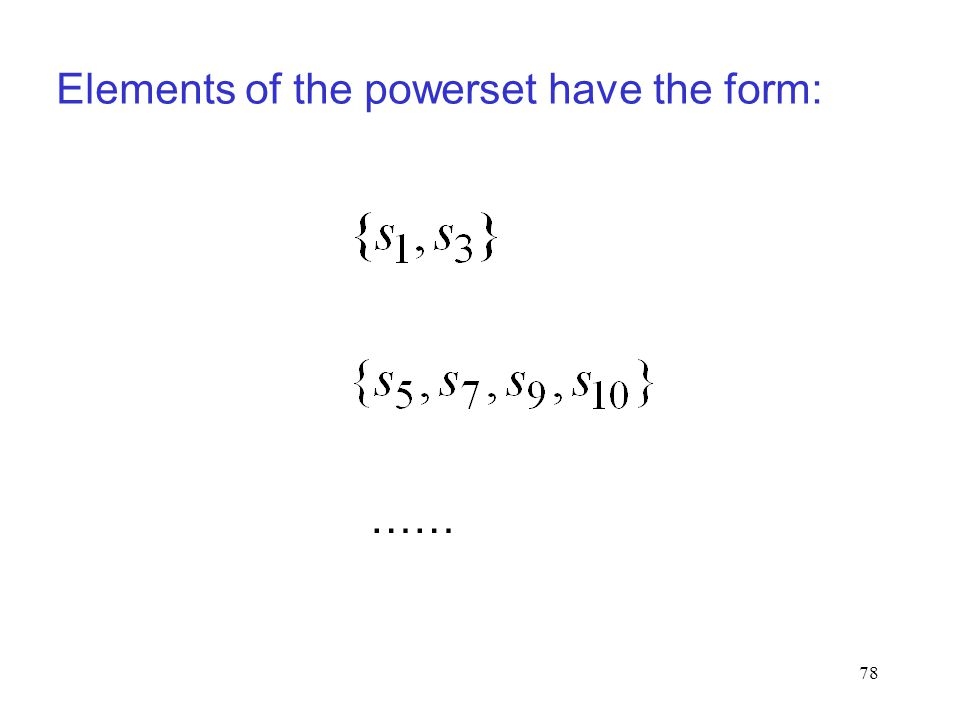 Elements of the powerset have the form: