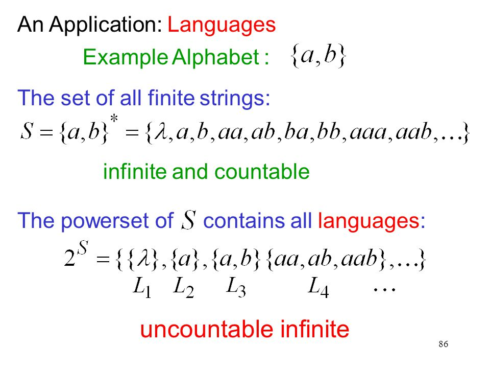 uncountable infinite An Application: Languages Example Alphabet :