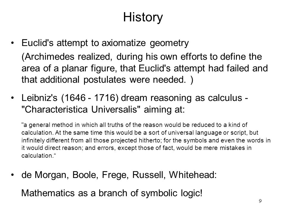 History Euclid s attempt to axiomatize geometry