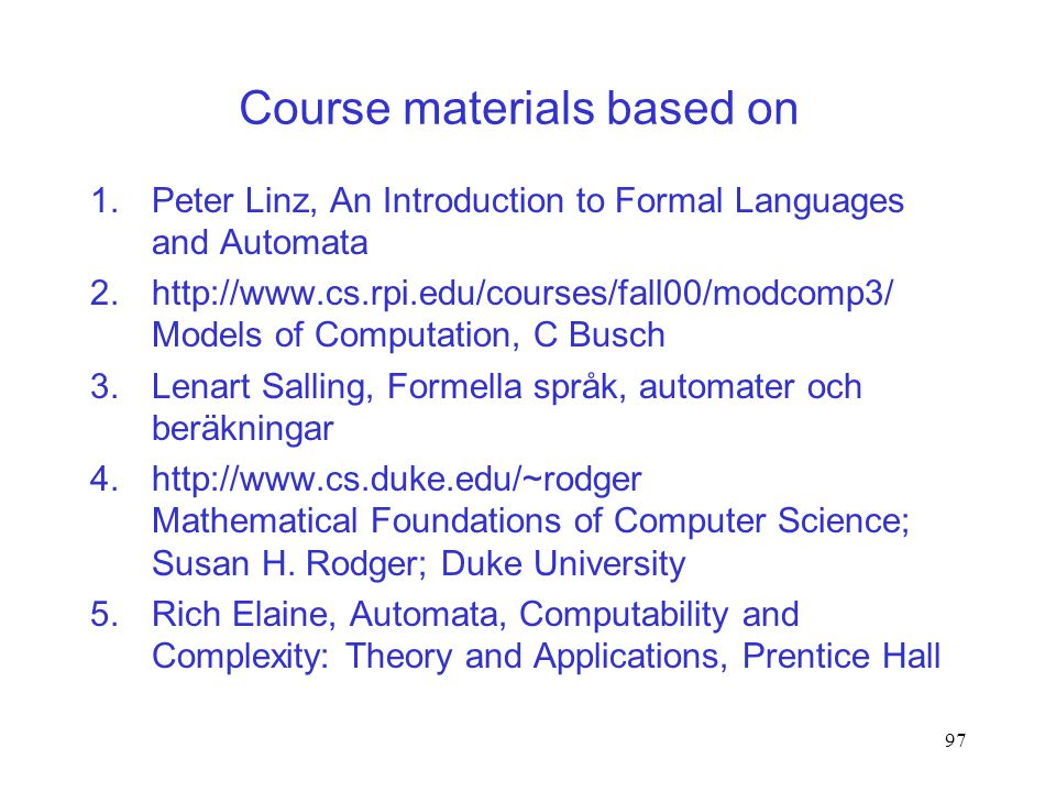 Course materials based on