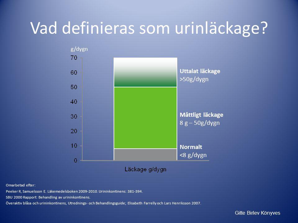 Vad definieras som urinläckage