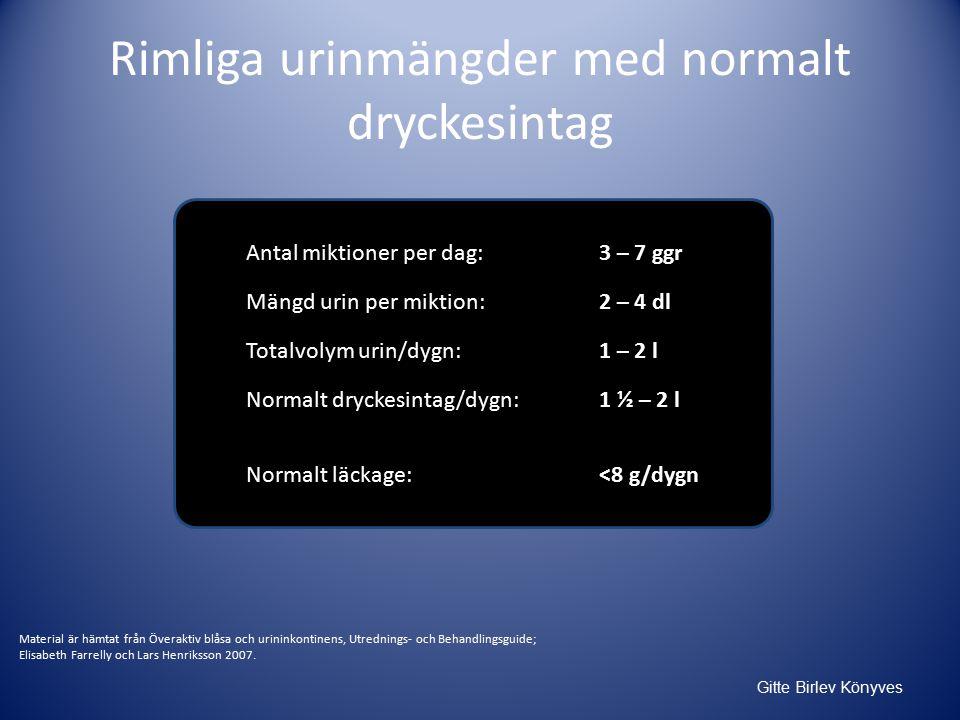 Rimliga urinmängder med normalt dryckesintag