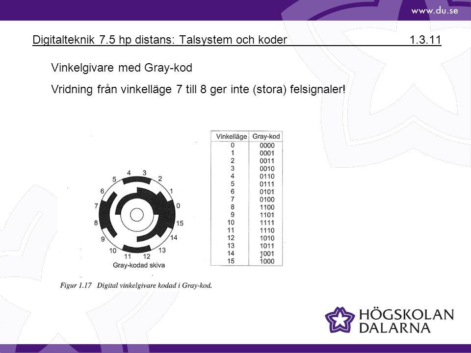 Digitalteknik 7.5 hp distans: Talsystem och koder 1.3.11