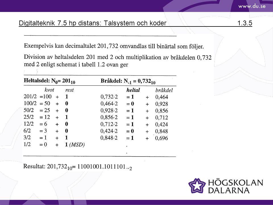 Digitalteknik 7.5 hp distans: Talsystem och koder 1.3.5