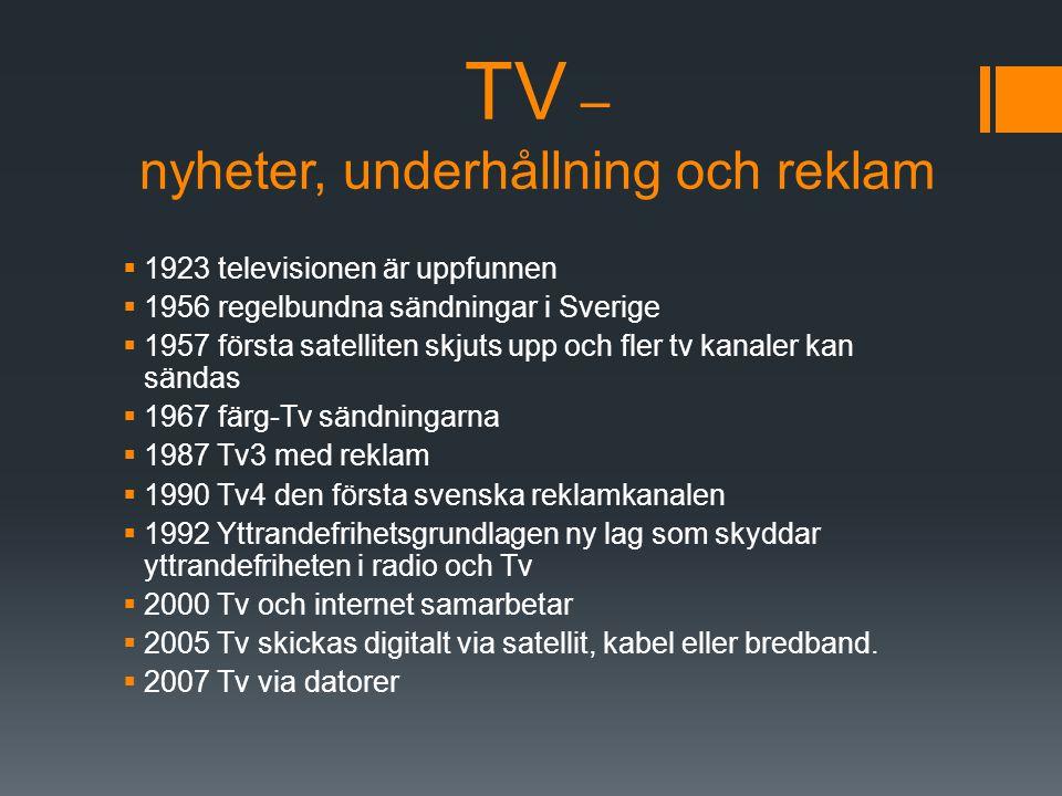 TV – nyheter, underhållning och reklam