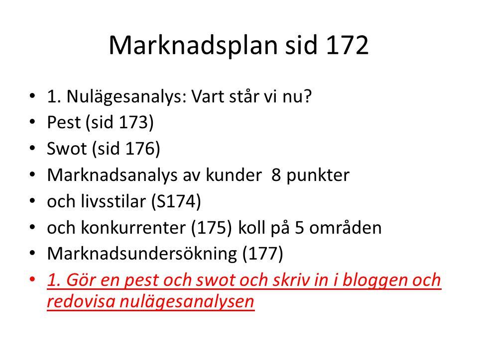 Marknadsplan sid 172 1. Nulägesanalys: Vart står vi nu Pest (sid 173)
