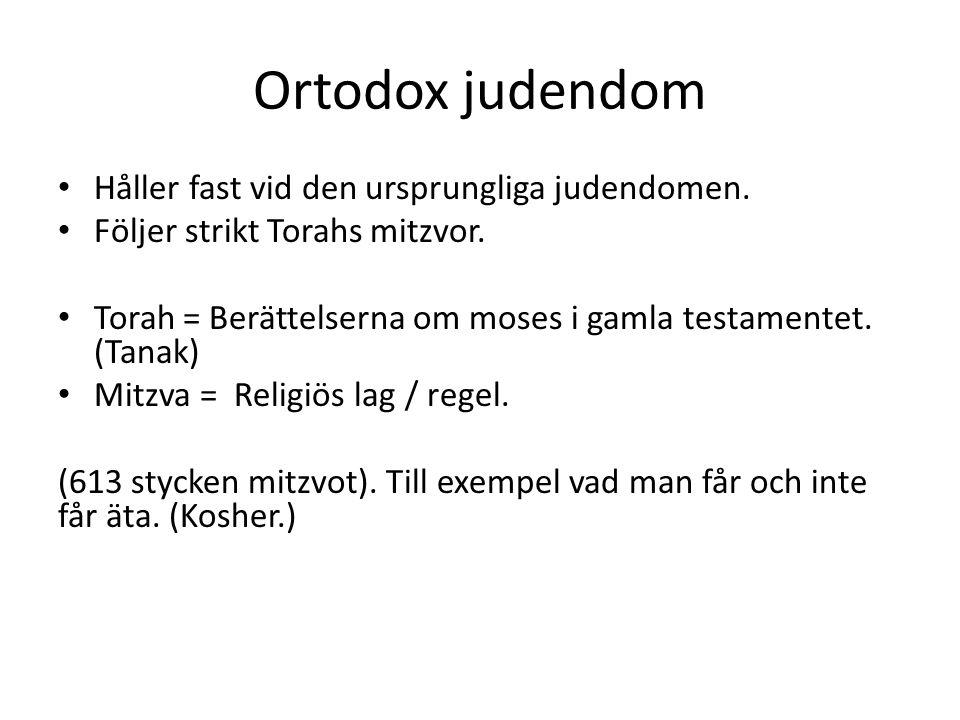Ortodox judendom Håller fast vid den ursprungliga judendomen.