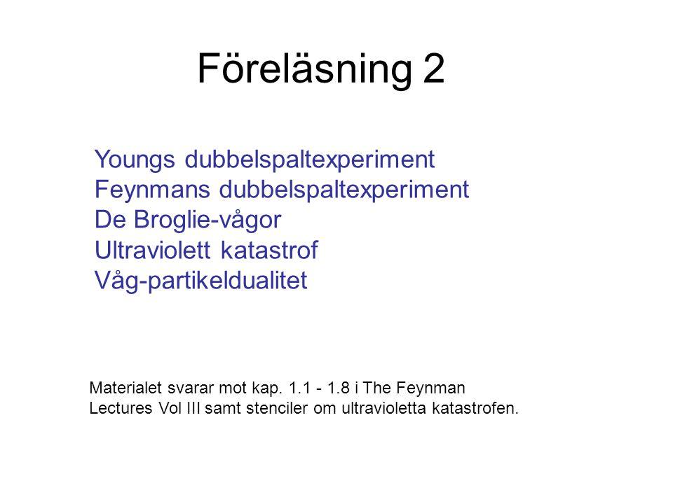 Föreläsning 2 Youngs dubbelspaltexperiment