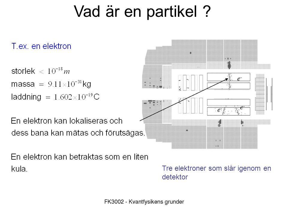 Vad är en partikel Tre elektroner som slår igenom en detektor