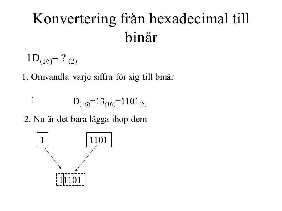 Konvertering från hexadecimal till binär