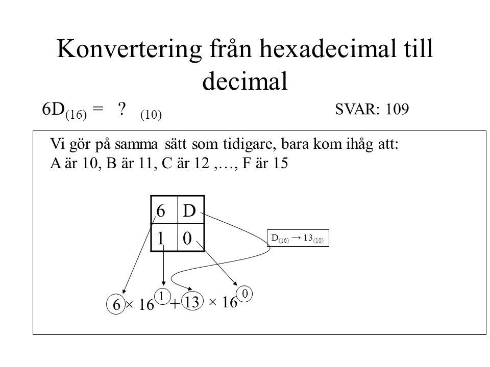 Konvertering från hexadecimal till decimal