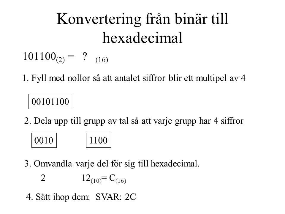 Konvertering från binär till hexadecimal
