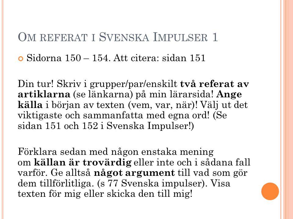Om referat i Svenska Impulser 1