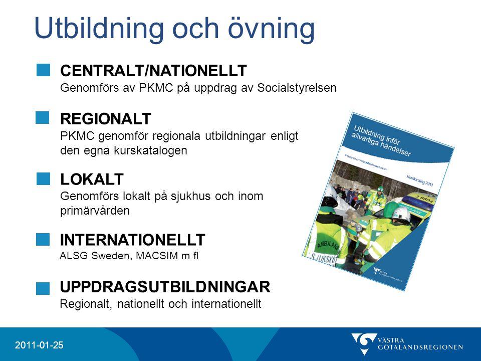 Utbildning och övning CENTRALT/NATIONELLT Genomförs av PKMC på uppdrag av Socialstyrelsen. REGIONALT.