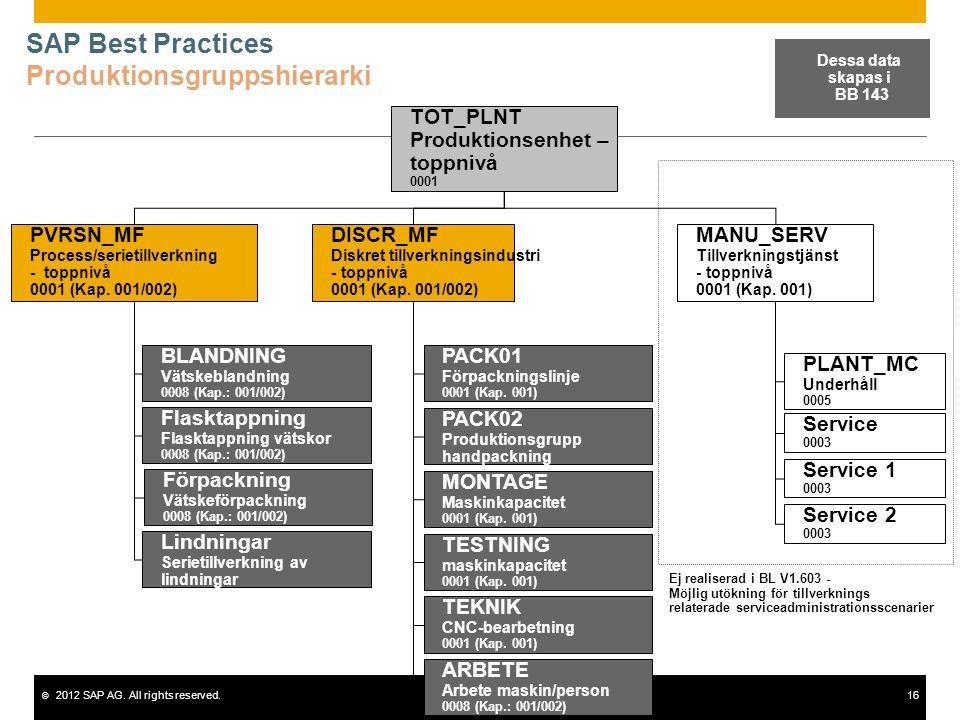 SAP Best Practices Produktionsgruppshierarki