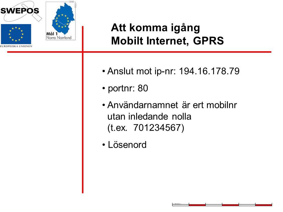 Att komma igång Mobilt Internet, GPRS