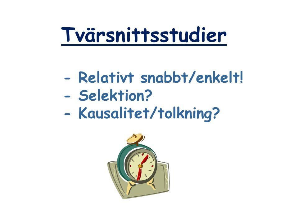 Tvärsnittsstudier - Relativt snabbt/enkelt! - Selektion