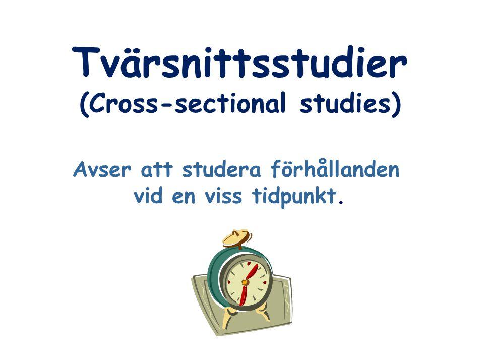 (Cross-sectional studies) Avser att studera förhållanden