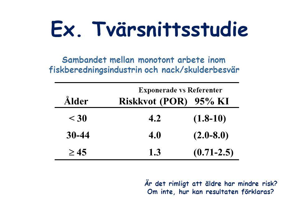 Ex. Tvärsnittsstudie Exponerade vs Referenter