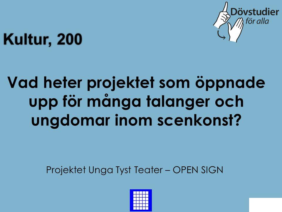 Projektet Unga Tyst Teater – OPEN SIGN