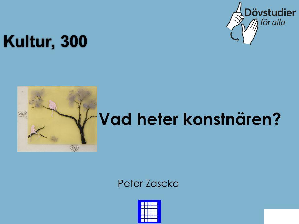 Kultur, 300 Vad heter konstnären Peter Zascko Back