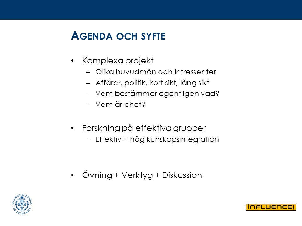 Agenda och syfte Komplexa projekt Forskning på effektiva grupper