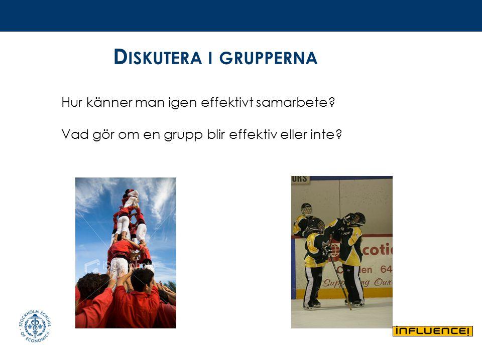 Diskutera i grupperna Hur känner man igen effektivt samarbete